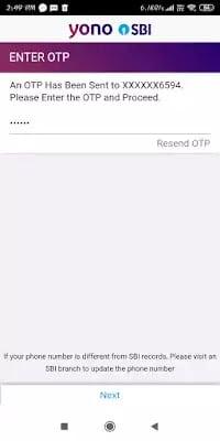 yono mobile verification